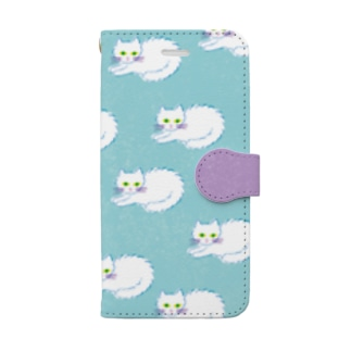 猫ブルー Book-style smartphone case