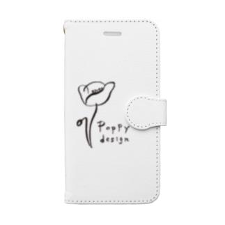 Poppy design 黒ライン Book-style smartphone case