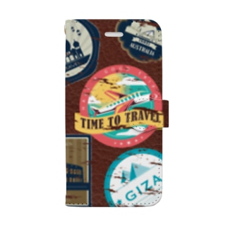 【iPhone 8/7/SE(第2世代)のみ】Travel Bag【フリー素材使用】 Book-style smartphone case