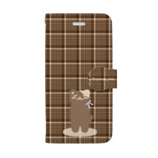 チェック柄のにゃにゃさんスマホカバー♥ Book-style smartphone case