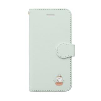 色々にゃんこ*手帳型スマホケース(薄水色) Book-style smartphone case