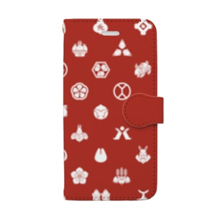 うさぎの家紋/赤 Book-style smartphone case