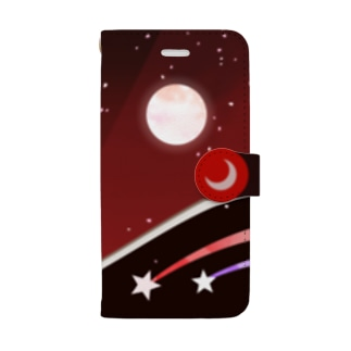 赤地に月 Book-style smartphone case