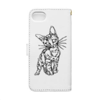 左手で描いたネコ Book-style smartphone case