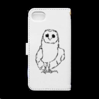 HELLL - ヘル - の左手で描いたメンフクロウ Book-style smartphone caseの裏面