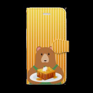 雑貨屋きゅう@suzuri支店のクマ店長のハニートースト 手帳型スマホケース Book-style smartphone case
