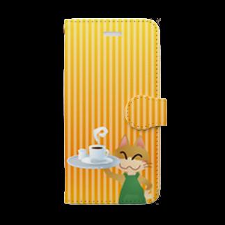 雑貨屋きゅう@suzuri支店のねこオーナーのコーヒー 手帳型スマホケース Book-style smartphone case