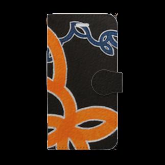 ryunosuke. storeのryunosuke柄(黒) Book-style smartphone case