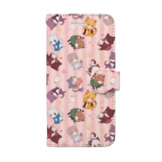 【桃】猫少年たち Book-style smartphone case