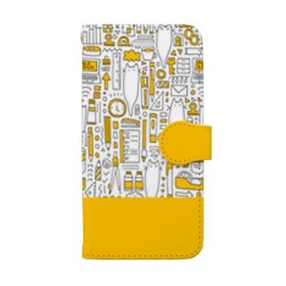 文房具だらけ・イエロー Book style smartphone case