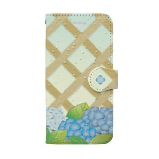 雨に歌う紫陽花 Book-style smartphone case