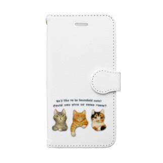 飼い猫になりたい三匹の猫 Book-style smartphone case