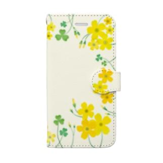 黄色いカタバミの水彩風 Book-style smartphone case
