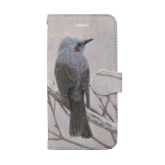手帳型 雨のなかのヒヨドリ Book-style smartphone case