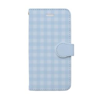 yuki*yutoriのギンガムチェック くすみブルー Book-style smartphone case