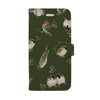 手帳型 スズメいっぱい Book-style smartphone case