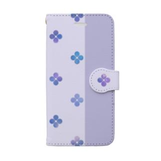 紫陽花-青- Book-style smartphone case