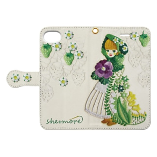 (iphone)  苺と花のケープ Book style smartphone case