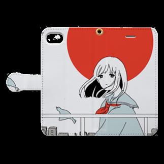 泳(ei)の日の出 Book-style smartphone caseを開いた場合(外側)