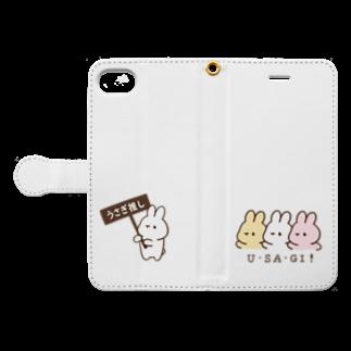 くぅもんせのお店のうさぎ推し&U・SA・GI! Book-style smartphone caseを開いた場合(外側)