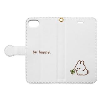 幸せを運ぶうさぎ Book-style smartphone case