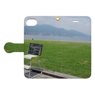 湖岸のカフェ Book-style smartphone case