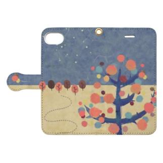 水彩 樹 ツリー Book-style smartphone case