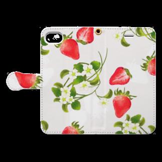 したまゆshopのいちご Book-style smartphone caseを開いた場合(外側)