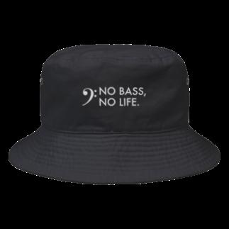 もりてつのNO BASS, NO LIFE.(白文字) Bucket Hat