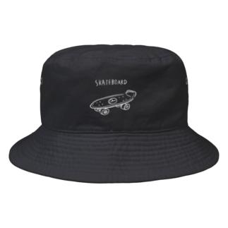 SKATEBOARD WHITE Bucket Hat