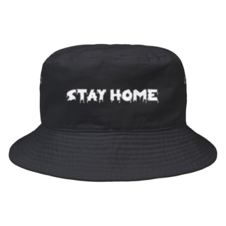 horror STAY HOME。 白 Bucket Hat