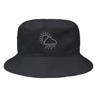 空模様の空模様ロゴ(WHITE) Bucket Hat