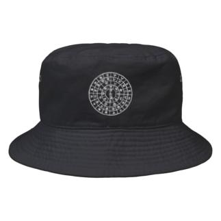 縄文フトマニ(ヲシテ文字)白字 Bucket Hat