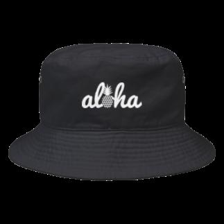 aloha_pineapple_hawaiiのaloha 28(heart)ホワイトロゴ Bucket Hat