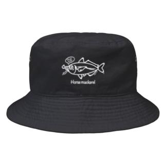 Mogumogu aji バックプリント Bucket Hat