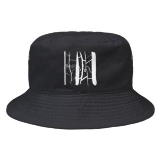 RIRI_designのあみだくじ(白 ホワイト) Bucket Hat