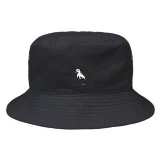 taro.ワンポイント。ブラック Bucket Hat