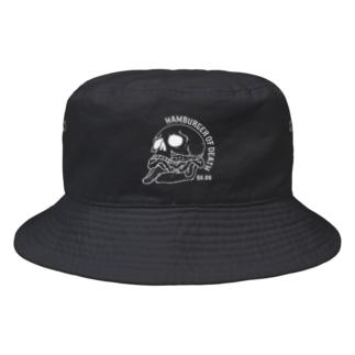 ハンバーガーオブデス/シロ(黒生地用) Bucket Hat