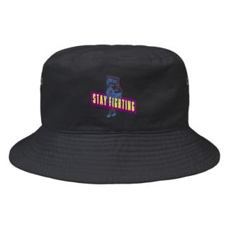 STAY FIGHTING 2 BLACK Bucket Hat