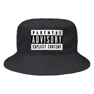 PARENTAL ADVISORY 白黒 反転色ロゴTシャツ Bucket Hat