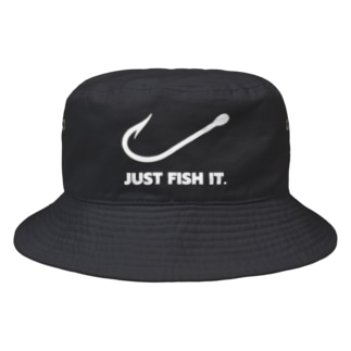 JUST FISH IT (白) Bucket Hat