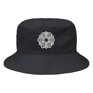 (白抜き)レースの幾何学模様な花 Bucket Hat