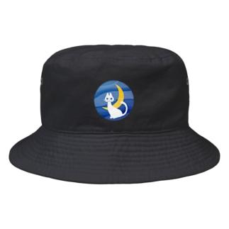 月夜の白ネコ Bucket Hat