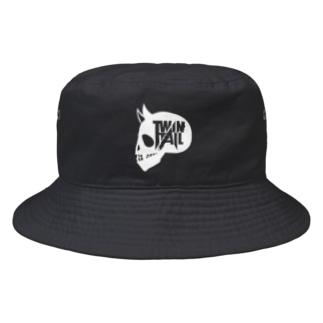 TWINTAIL-white skull Bucket Hat