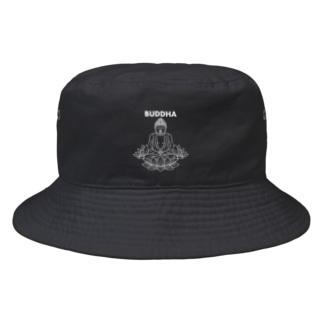 BUDDHA-仏像- 白ロゴ Bucket Hat
