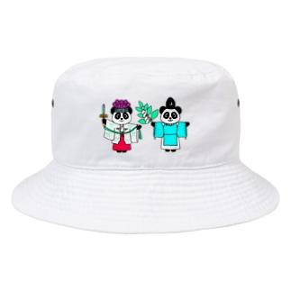 パンダ宮司とパンダ巫女淡色 Bucket Hat