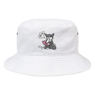 浅木愁太@LINEスタンプ販売中のぞうさんビリビリ柴犬さん Bucket Hat