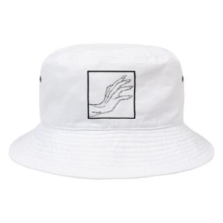 QB🦖のストークハンド(white) Bucket Hat