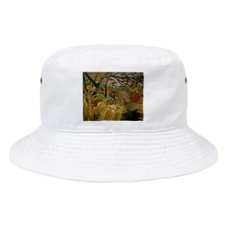 熱帯嵐のなかのトラ / アンリ・ルソー(Tiger in a Tropical Storm(Surprised!)1891) Bucket Hat