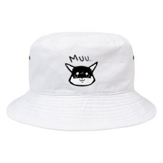 浅木愁太@LINEスタンプ販売中のおこしばさん(黒柴) Bucket Hat